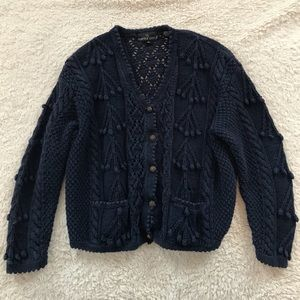 Carol Little Dusty Navy V-Neck Cardigan Sweater
